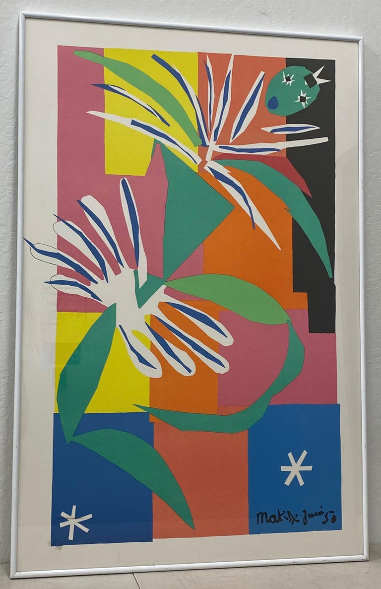 """(after) Henri Matisse Abstract Print - After Henri Matisse """"La Danseuse Creole"""" Framed Poster Late 20th Century"""