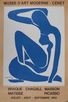 Blue Nude Resting - Vintage lithograph exhibition poster # Mourlot