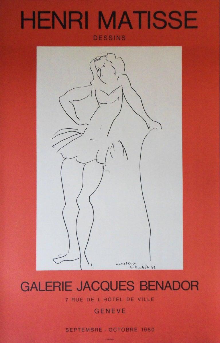 (after) Henri Matisse Figurative Print - Christiane : Dancer - Lithograph Poster - Galerie Jacques Benador