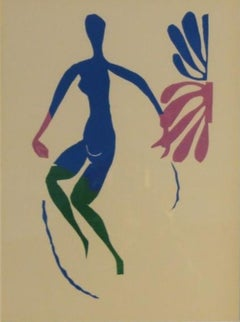 Dancing Blue Nude-Lithograph After Original Decoupage, with COA. Framed
