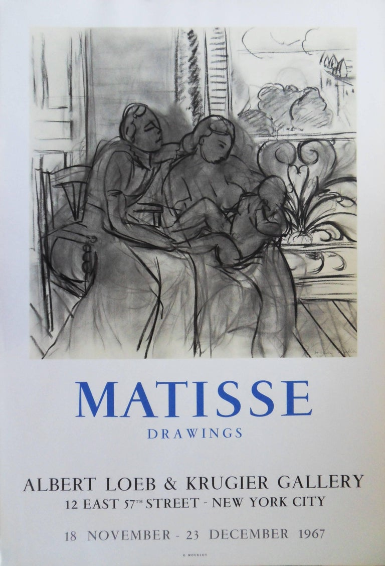 """(after) Henri Matisse Figurative Print - Family - Original vintage lithograph poster """"Drawings New-York 1967"""" #Mourlot"""