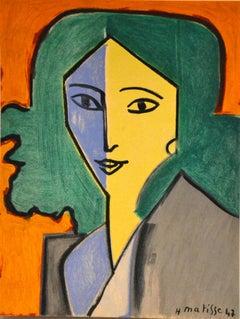 Portrait bleu, vert et jaune - Original Lithograph After Henri Matisse - 1954