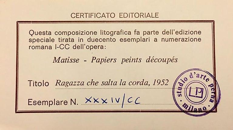 After Henri Matisse Ragazza Che Salta La Corda 'Rope Jumping Girl', Certificate For Sale 2