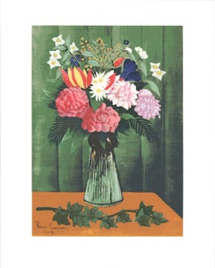 "Henri Rousseau-Flowers in Vase-20"" x 16""-Serigraph-1991-Modernism-Brown, Green"