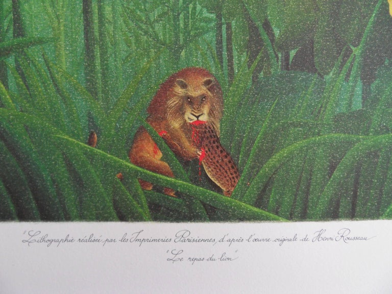 Henri ROUSSEAU (called Le Douanier ROUSSEAU) (after) The Repast of the Lion  Stone lithograph after a painting Printed signature in the plate Numbered /300 copies On vellum 57 x 75 cm (c. 23 x 30i n)  Information : This lithograph was created after