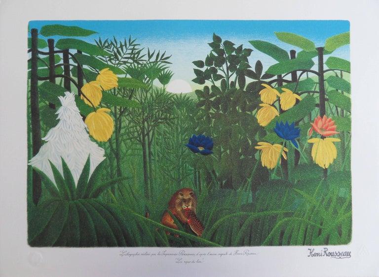 (after) Henri Rousseau Landscape Print - The Repast of the Lion - Lithograph - 300ex