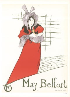 """Henri de Toulouse-Lautrec-May Belfort-14.5"""" x 10.5""""-Lithograph-1966-Art Nouveau"""