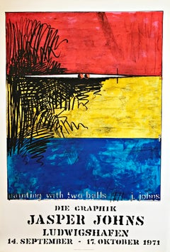 """20th Century Abstract Screen Print """"Painting with two balls"""" by Jasper Johns"""