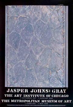 "Exhibition Poster, Jasper Johns -42.5"" x 29""-Poster-2007-Pop Art-Blue, Gray"
