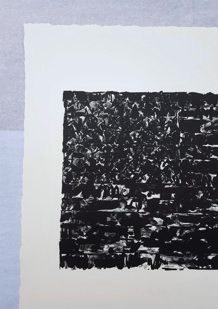 Flag I - Black Abstract Print by (After) Jasper Johns