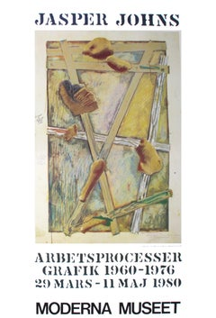 "Jasper Johns-Works in Progress-39.25"" x 27.5""-Poster-1980-Pop Art-Brown, Green"