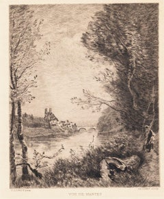 Vue de Mantes - Etching after C. Corot by C. Pinet - 19th Century