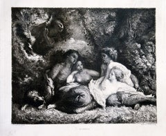 Le Repos - Original Etching and Aquatint by Marcel Roux - Late 19th Century
