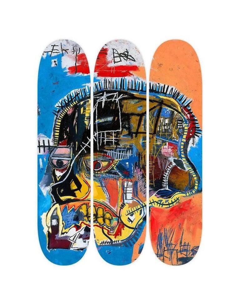 Basquiat, Skull Skate Decks, Set of Three (Triptych) - Mixed Media Art by after Jean-Michel Basquiat