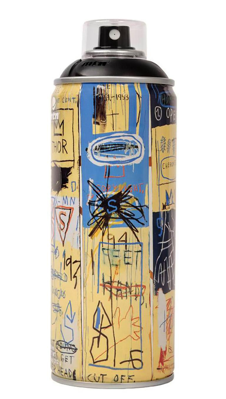 Limited Edition Jean-Michel Basquiat spray paint can set published circa 2017 featuring the Estate trademark of Jean-Michel Basquiat. A unique Basquiat collector's set that makes for standout home display.   Medium: Off-set lithograph on 3