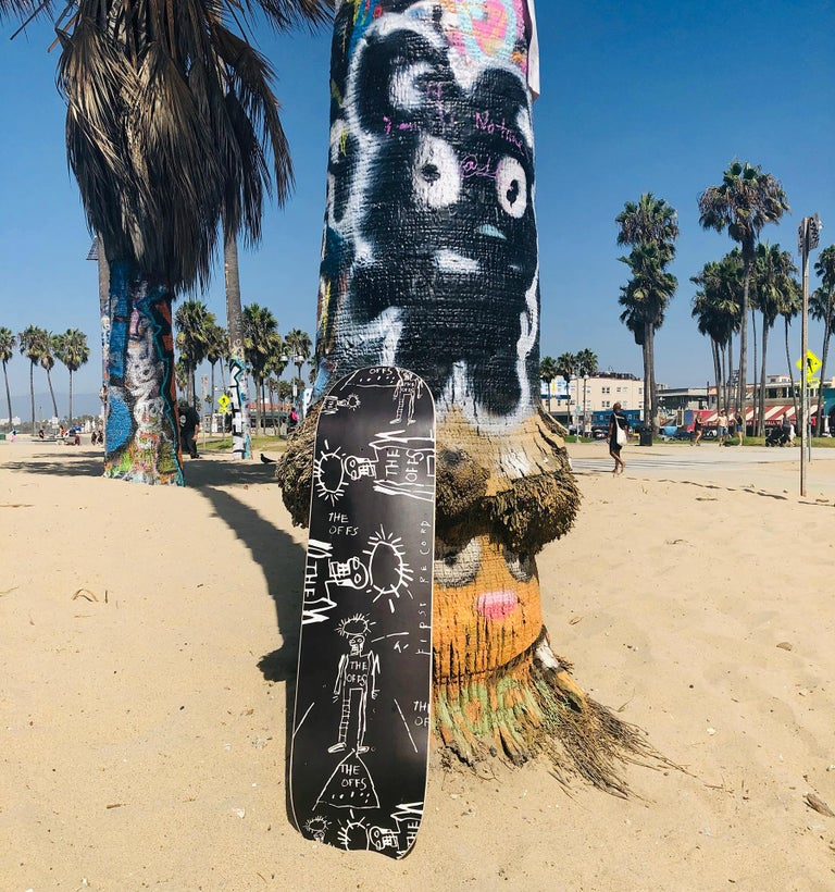 The OFFS Limited Edition Skate Deck, Graphics from The OFFS First Record, Cover  - Pop Art Mixed Media Art by after Jean-Michel Basquiat
