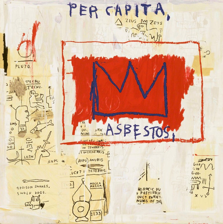 """""""Per Capita"""" screenprint in colors, on wove paper, the full sheet, Numbered A.P. 4/15 in pencil on lower right, signed and dated on reverse """"11-19-01"""" by Gerard Basquiat (Administrator of the Estate of Jean-Michel Basquiat) in pencil with the Estate"""