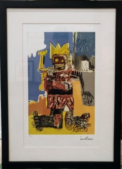 After Jean-Michel Basquiat - Lithography - Yellow Crown & Bone Tray, 1982
