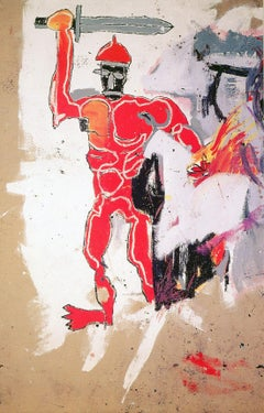 Basquiat at Vrej Baghoomian gallery 1989 (Basquiat Red Warrior announcement)
