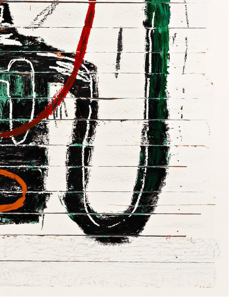 Flexible is a 2016 twenty four color serigraph by Jean-Michel Basquiat. Flexible is from an edition of 85 plus artist and printers proofs. The posthumous release is stamped and signed by Lisane Basquiat and Jeanine Heriveaux, the artist's sisters