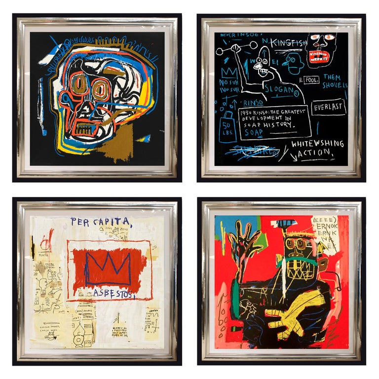 (After) Jean-Michel Basquiat, Rare Collectors Set of 4 Screen Prints, Portfolio For Sale