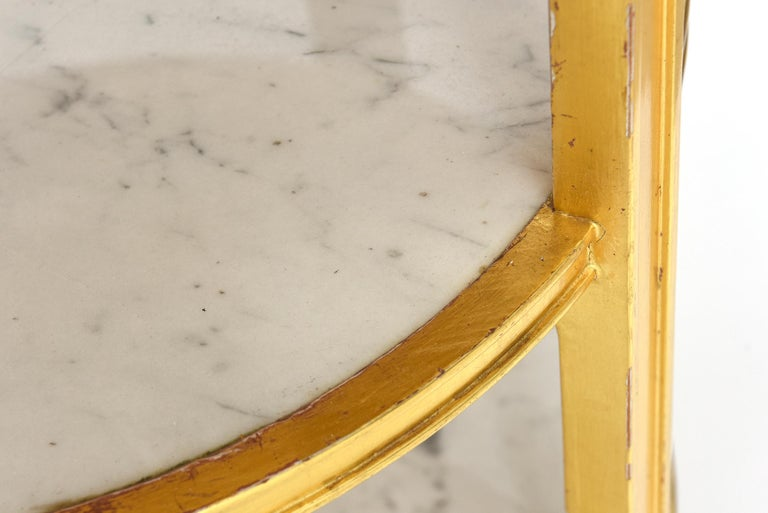 After Jean-Michel Frank Giltwood and White Marble Three Tiered Table For Sale 6