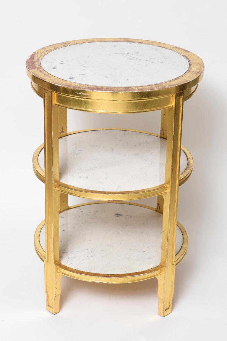Art Deco After Jean-Michel Frank Giltwood and White Marble Three Tiered Table For Sale