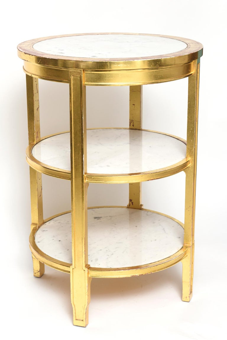 After Jean-Michel Frank Giltwood and White Marble Three Tiered Table In Good Condition For Sale In Miami Beach, FL