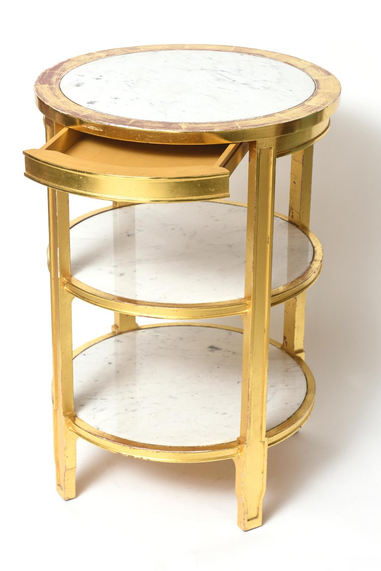20th Century After Jean-Michel Frank Giltwood and White Marble Three Tiered Table For Sale