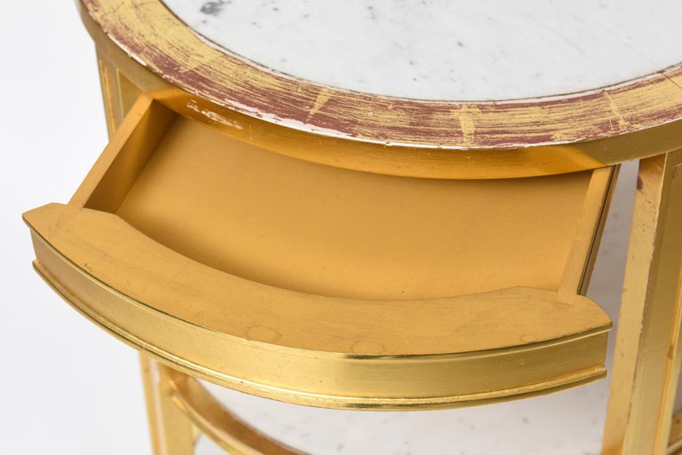 After Jean-Michel Frank Giltwood and White Marble Three Tiered Table For Sale 1