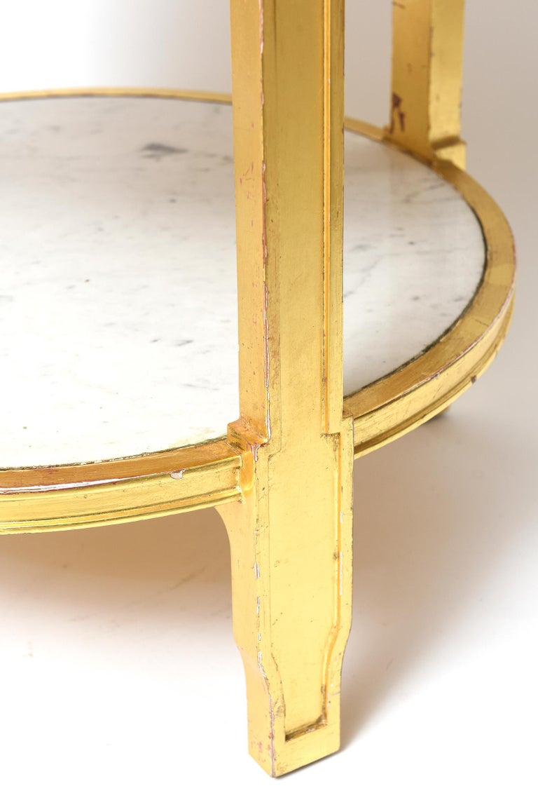 After Jean-Michel Frank Giltwood and White Marble Three Tiered Table For Sale 3