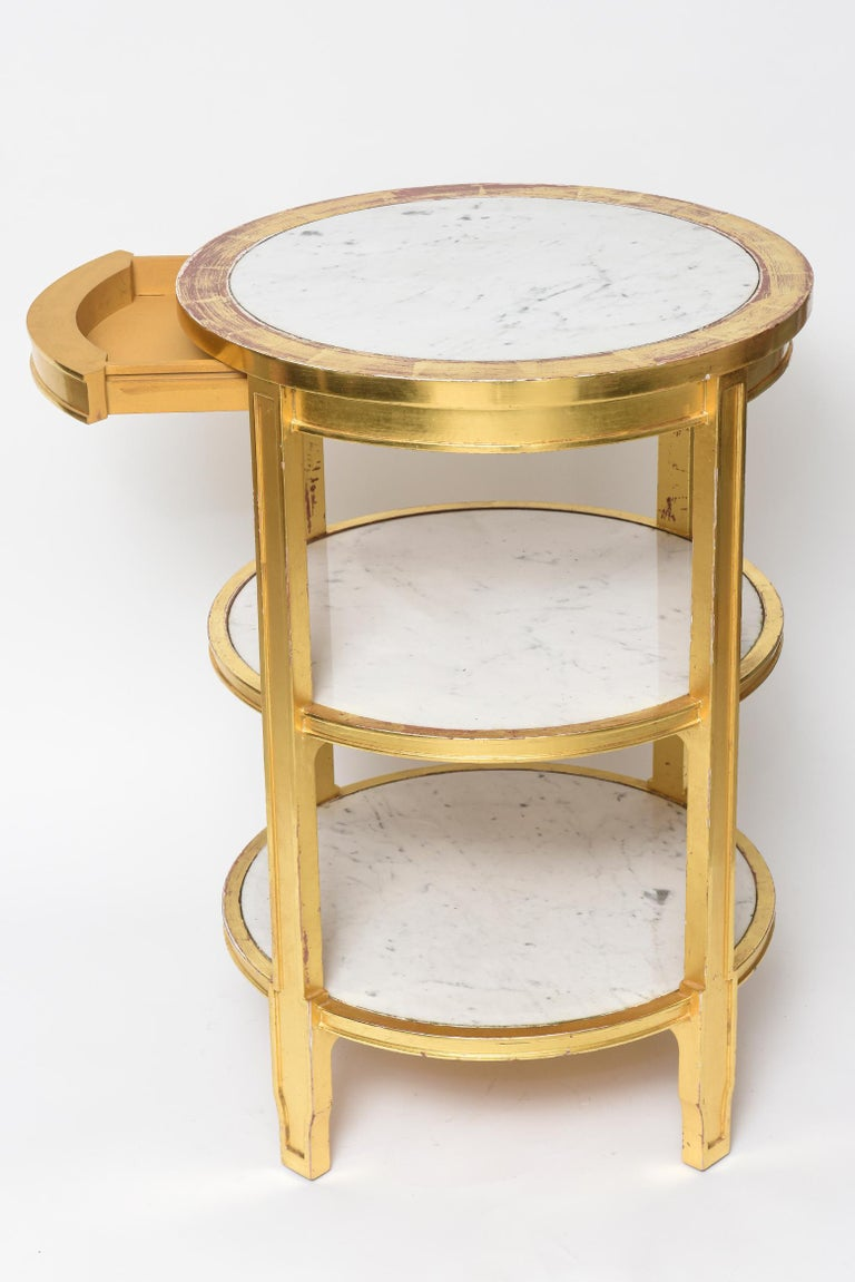 After Jean-Michel Frank Giltwood and White Marble Three Tiered Table For Sale 4