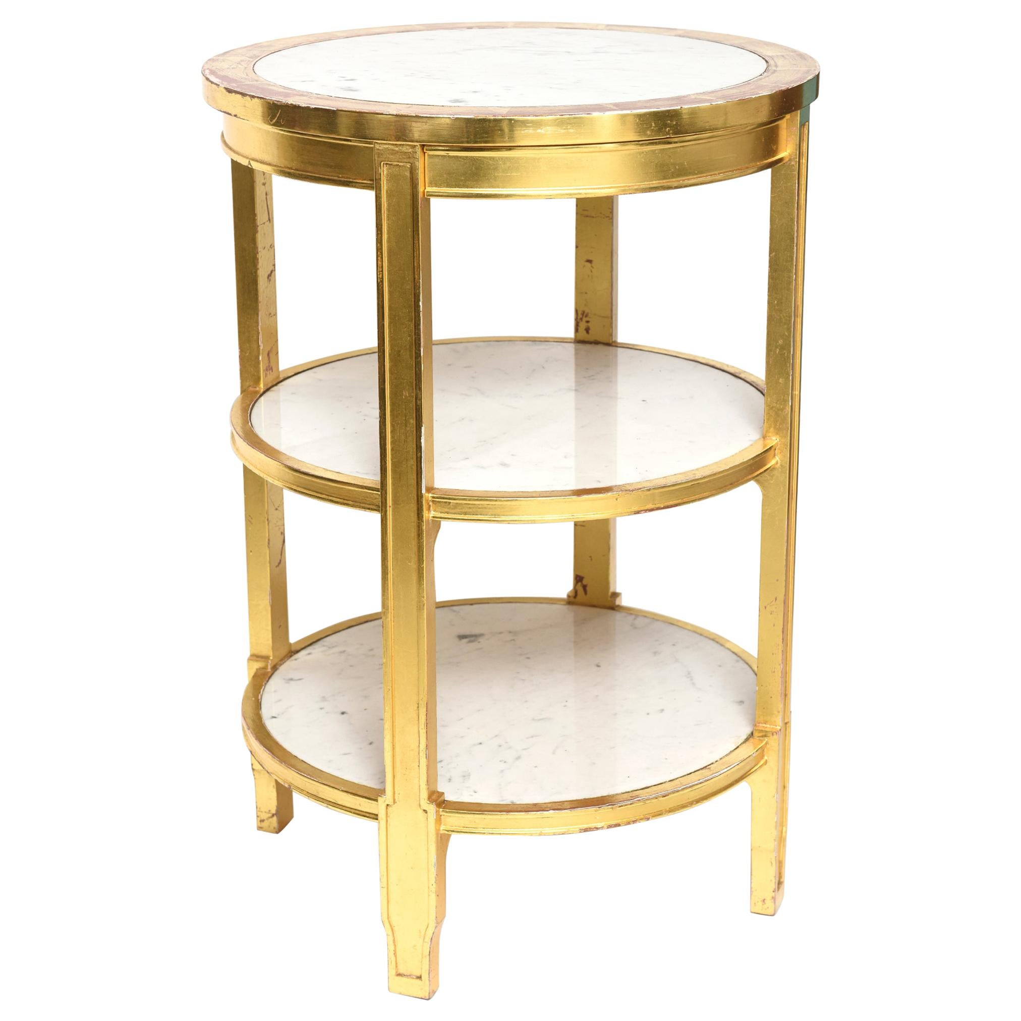 After Jean-Michel Frank Giltwood and White Marble Three Tiered Table