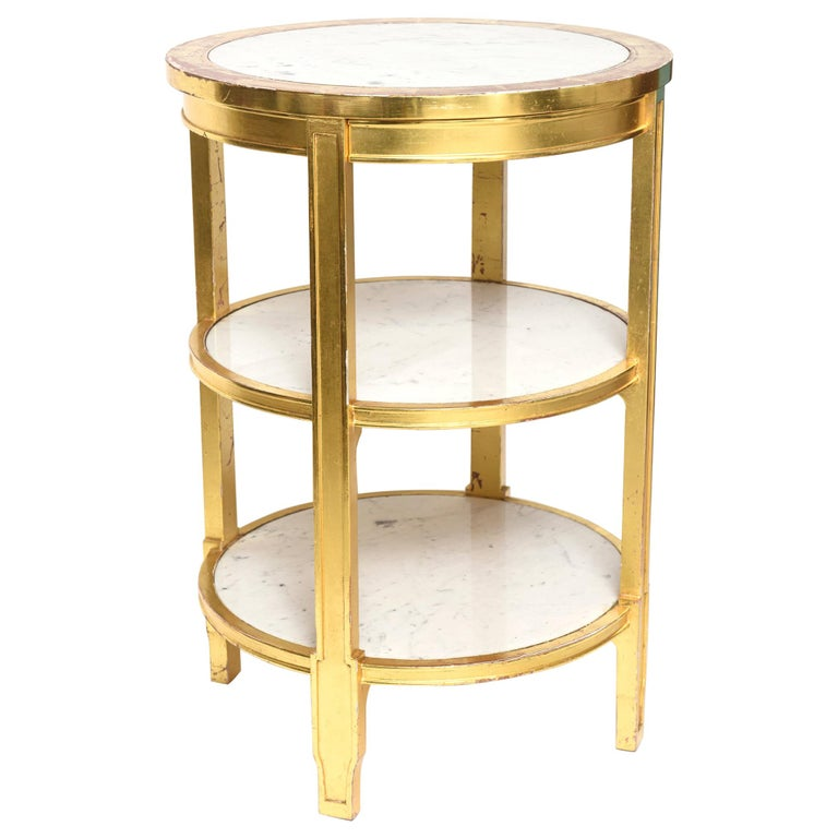 After Jean-Michel Frank Giltwood and White Marble Three Tiered Table For Sale