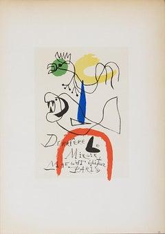 """Joan Miro-Derriere le Miroir Maeght Editeur-12.5"""" x 9.25""""-Lithograph-1959"""