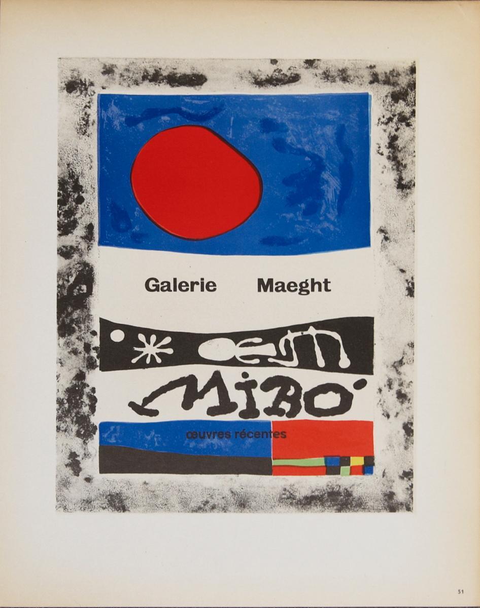 "Joan Miro-Galerie Maeght-12.5"" x 9.25""-Lithograph-1959-Surrealism-Multicolor"