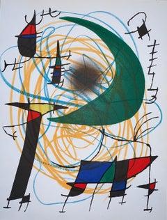 Joan Miró-Litografia-originale non firmata V-Surrealist-Figurative Print-1972