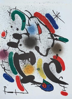 Joan Miró-Litografia-originale non firmata VI-surrealist-figurative print-1972
