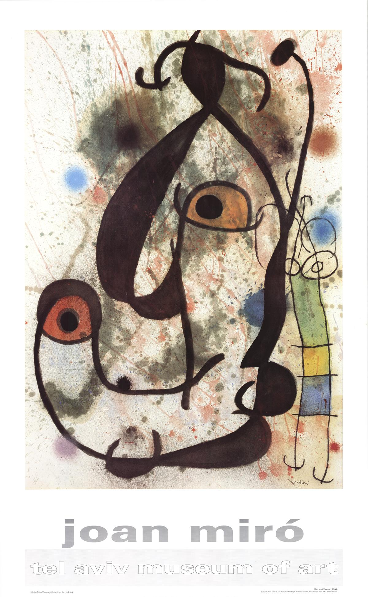 """Joan Miro-Man and Woman-46"""" x 27.5""""-Poster-Surrealism-Multicolor"""