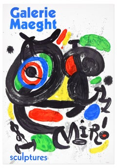 Vintage Mirò Exhibition Poster Galerie Maeght - 1970