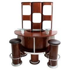 After Joe Colombo Mid-Century Modern Italian Elmwood Cabinet Bar, 1970