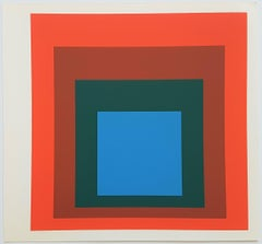 "Homage to the Square: Blue + Darkgreen with 2 Reds (from ""Albers"")"