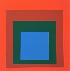 """Homage to the Square: Blue + Darkgreen with 2 Reds (from """"Albers"""")"""