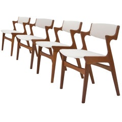 After Kai Kristiansen Teak Wool Bouclé Set of 4 Dining Chairs, Denmark, 1960