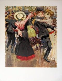 Montmartre : Dancing at Moulin de la Galette - Lithograph, 1972