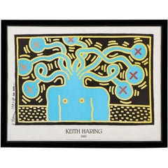 Keith Haring Medusa Offset Lithograph Poster Turquoise Black Signed 1987