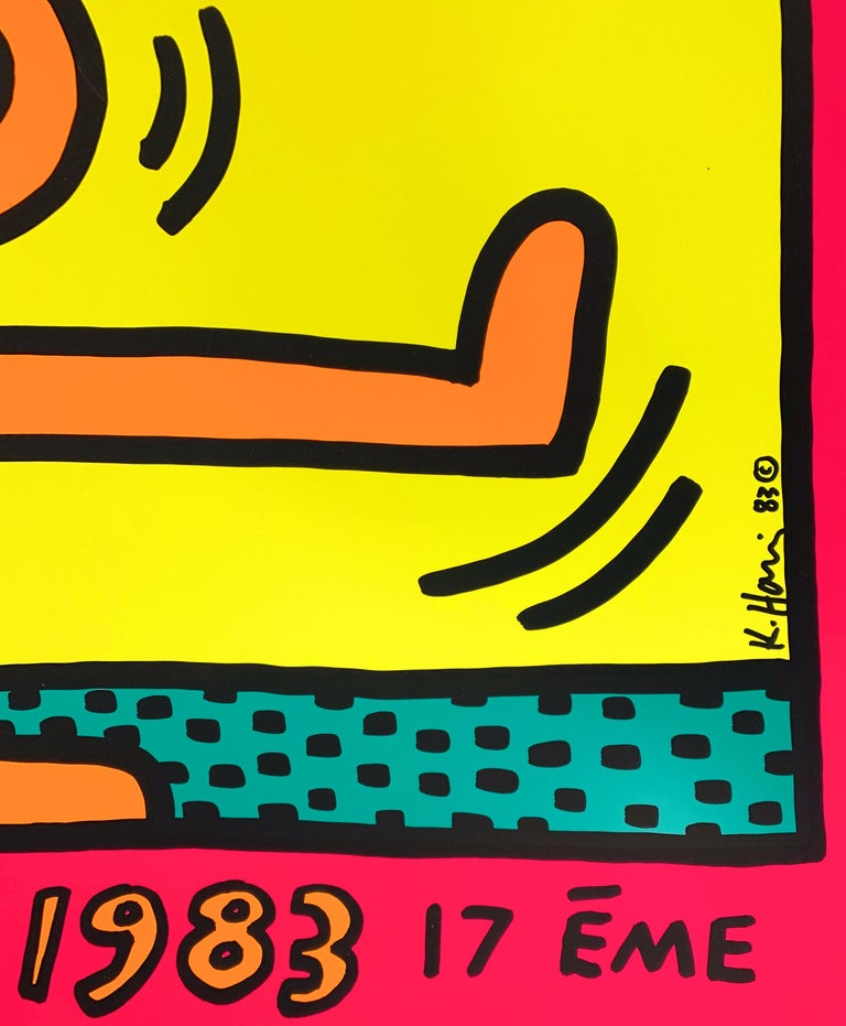 Jazz : Swing Guy (Pink) - Vintage Screenprint Poster, Montreux, 1983 - American Modern Print by (after) Keith Haring
