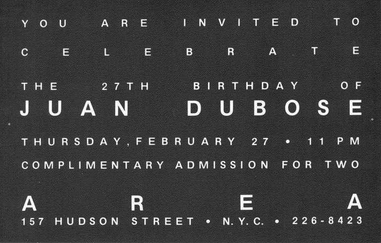 """Keith Haring Juan Dubose Area nightclub 1983: Rare historical & highly collectible early 1980s Keith Haring announcement celebrating the occasion of his then partner, Juan Dubose's Birthday at """"Area.""""  Off Set Lithograph on double-sided cover stock."""