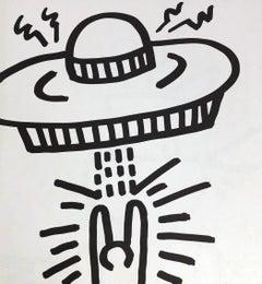 Keith Haring UFO lithograph 1982 (Keith Haring laser beam spaceship)