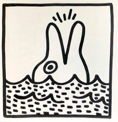 Keith Haring (untitled) Dolphin lithograph 1982 (Keith Haring prints)